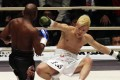 Japanese kick-boxer Tenshin Nasukawa is on his way to the canvas after being hit by Floyd Mayweather Jnr in their exhibition fight in Saitama. Photo: AP