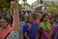 Women protesting gender discrimination in Thiruvananthapuram. Photo: AP