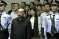 Former Politburo member Sun Zhengcai (centre) was jailed for life in May for taking US$24.7 million in bribes. Photo: CCTV via AP