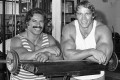 Ed Corney and Arnold in the 1970s at Gold's Gym, Venice Beach, California. Photo: YouTtube
