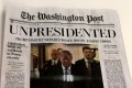 A fake edition of The Washington Post, which depicts US President Donald Trump leaving office, was distributed Wednesday morning on the streets of Washington. Photo: The Washington Post
