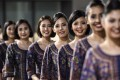 Singapore Girls at a promotional event at the Singapore Grand Prix. Photo: AFP