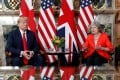 US President Donald Trump and British Prime Minister Theresa May meet at Chequers in Buckinghamshire, Britain, on July 13, 2018. Trump is currently presiding over a government shutdown, while May's plan for the UK to leave the European Union was voted down in Parliament this week. Photo: Reuters