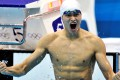 China's Sun Yang celebrates after winning the 400m freestyle final at the London 2012 Olympic Games. Photo: Reuters