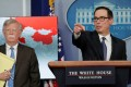 The map was used during a press conference by John Bolton and Steven Mnuchin about Venezuela. Photo: Reuters
