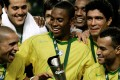 Brazil's players celebrate after winning the 2005 Carlsberg Cup. Photo: AFP