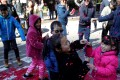 Children play with exploded firecracker wrappers while ushering in Lunar New Year, on Tuesday, in San Francisco, California. San Francisco will have a month-long celebration as part of the Year of the Pig. Photo: Getty Images/AFP