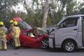 A Ferrari crash with a goods van in Ting Kok Road, Tai Po. Photo: Facebook