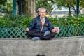 Chinese elderly man meditating in Hong Kong, China. Photo: SCMP