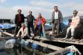 Farmers (from left to right) Lee Muk-kam and Lee Kan, with Shek Kwong-yin, Sam Mun Tsai village representative, former fisheries lawmaker Wong Yung-kan, Ho Yi, and Ng Ngau-tai at the Sam Mun Tsai fish farm in Tai Po. Photo: K.Y. Cheng