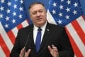 US Secretary of State Mike Pompeo addresses a press conference in Budapest on Monday. Photo: AFP