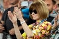 Anna Wintour applauds after Serena Williams' match against Simona Halep at the Australian Open, in Melbourne. Picture: Reuters