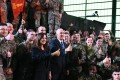 US Vice-President Mike Pence (centre, in suit and tie) and his wife Karen Pence pose with soldiers at the 1st Airlift Base in Warsaw, on February 13, 2019 during a three-day visit of the US Vice President to Poland. Photo: AFP