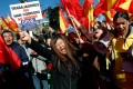 Chinese customers of Spanish bank BBVA protest outside its headquarters in Madrid on Friday. Photo: Reuters