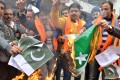 Protesters burn Pakistani flags during a demonstration in Amritsar, India. Photo: AFP