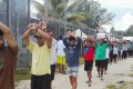 Asylum seekers and refugees protesting at the Manus Island immigration detention centre in Papua New Guinea. Photo: EPA