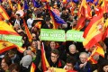 People participate in a rally on February 10 in Madrid, Spain, called by the People's Party and Ciudadanos to demand a general election. The rally was organised to protest against talks between Prime Minister Pedro Sanchez's government and Catalan pro-independence leaders. Photo: EPA-EFE