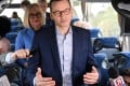 Polish Prime Minister Mateusz Morawiecki speaks to journalists on a bus in Warsaw, Poland on February 18, 2019. Photo: EPA