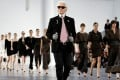 File photo of German designer Karl Lagerfeld at the end of his Spring/Summer 2013 women's ready-to-wear fashion show for French fashion house Chanel during Paris fashion week in October 2012. Photo: Reuters