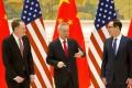 US trade representative Robert Lighthizer )left), Chinese Vice-Premier Liu He, and US Treasury Secretary Steven Mnuchin met in Beijing last week. Photo: Reuters