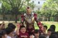 Bao Jianguo is a hit at a Hangzhou kindergarten in the Iron Man outfit he made himself. Photo: News.163.com