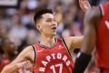 Toronto Raptors guard Jeremy Lin celebrates a basket against the Washington Wizards. Photo: AP
