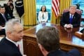 US President Donald Trump watches as Chinese Vice-Premier Liu He (left) speaks with US Trade Representative Robert Lighthizer (right) in the Oval Office on Friday. Photo: AFP