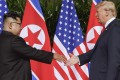 US President Donald Trump and North Korea leader Kim Jong-un meet at their first summit in Singapore last year. Photo: AP