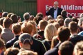 Labour Party leader Jeremy Corbyn addresses a rally on Saturday in Broxtowe, central England. Photo: AFP