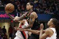Cleveland Cavaliers' Jordan Clarkson is on the attack against Portland Trail Blazers in an NBA game in Ohio. Photo: AP