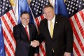 Philippine Foreign Affairs Secretary Teodoro Locsin Jnr and US Secretary of State Mike Pompeo. Photo: AP