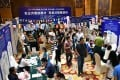 Jobseekers attend a job fair in Haikou, south China's Hainan Province, June 23, 2018. Nearly 100 enterprises took part in the job fair, offering more than 2,600 jobs. Photo: Xinhua