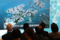 A presentation slide is shown during a press conference on the East Lantau metropolis project, proposing the reclamation of 2,200 hectares for housing to the east of Lantau Island. Photo: K.Y. Cheng