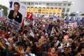 Supporters of the Thai Raksa Chart party in Bangkok. Photo: EPA