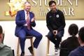 South China Morning Post CEO Gary Liu (right) and Hong Kong Jockey Club CEO Winfried Engelbrecht-Bresges share tips with students. Photo: Jonathan Wong