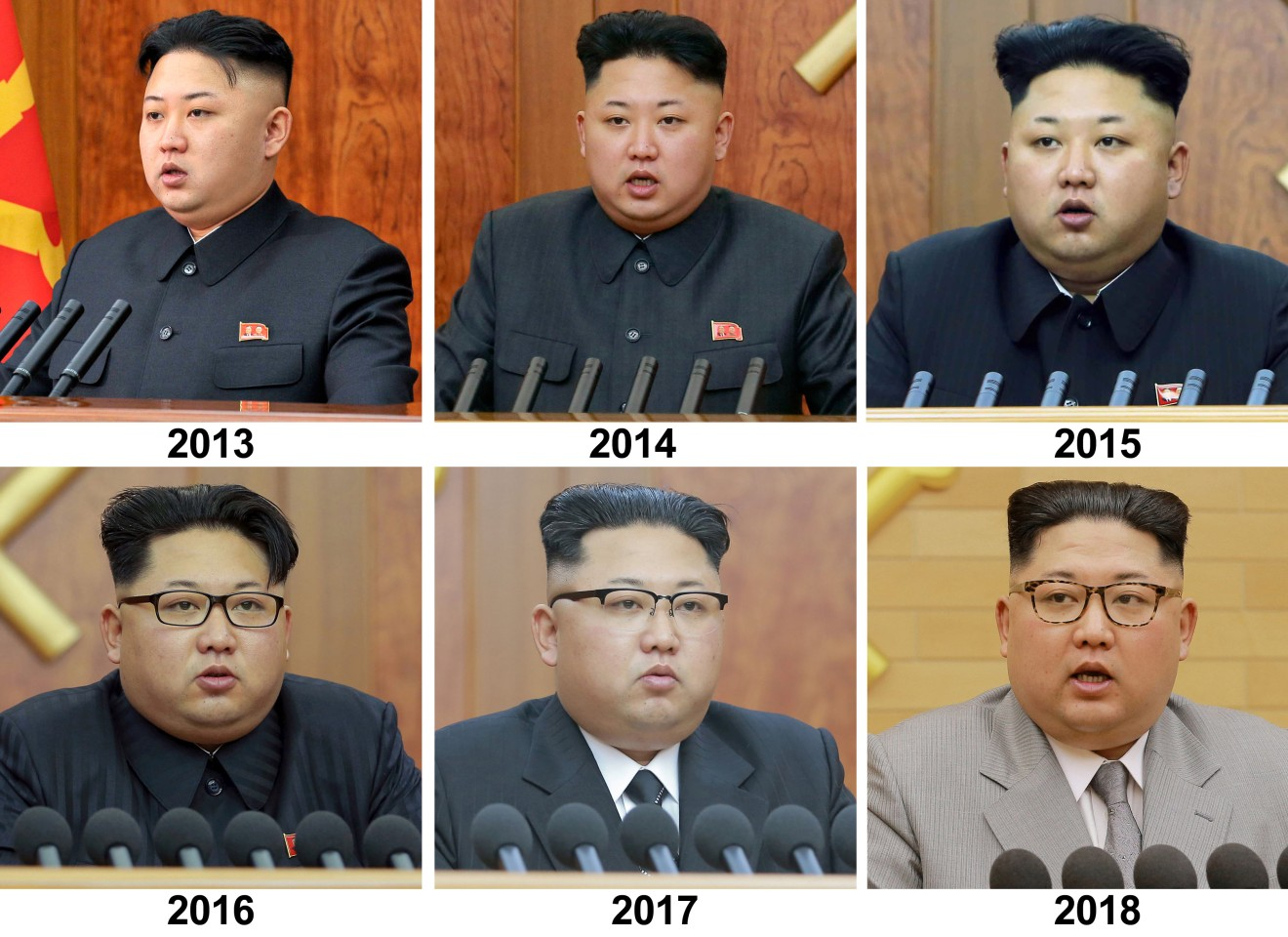 Photos of Kim Jong-un giving his New Year address from 2013 to 2018.
