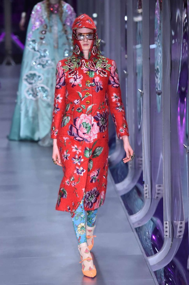 46610345a43 Gucci s Alessandro Michele combines women s and menswear in a riot of flora  and fauna