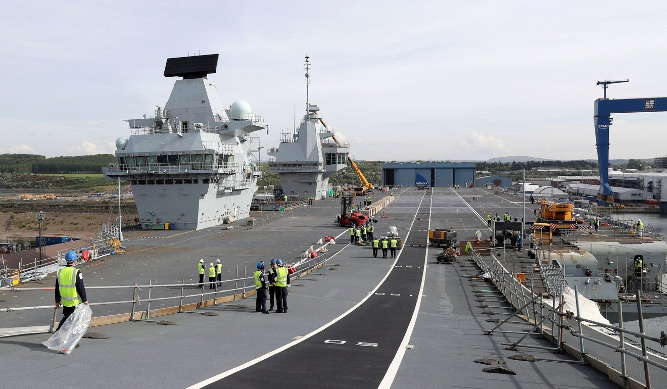 Britain's HMS Queen Elizabeth aircraft carrier takes to seas for