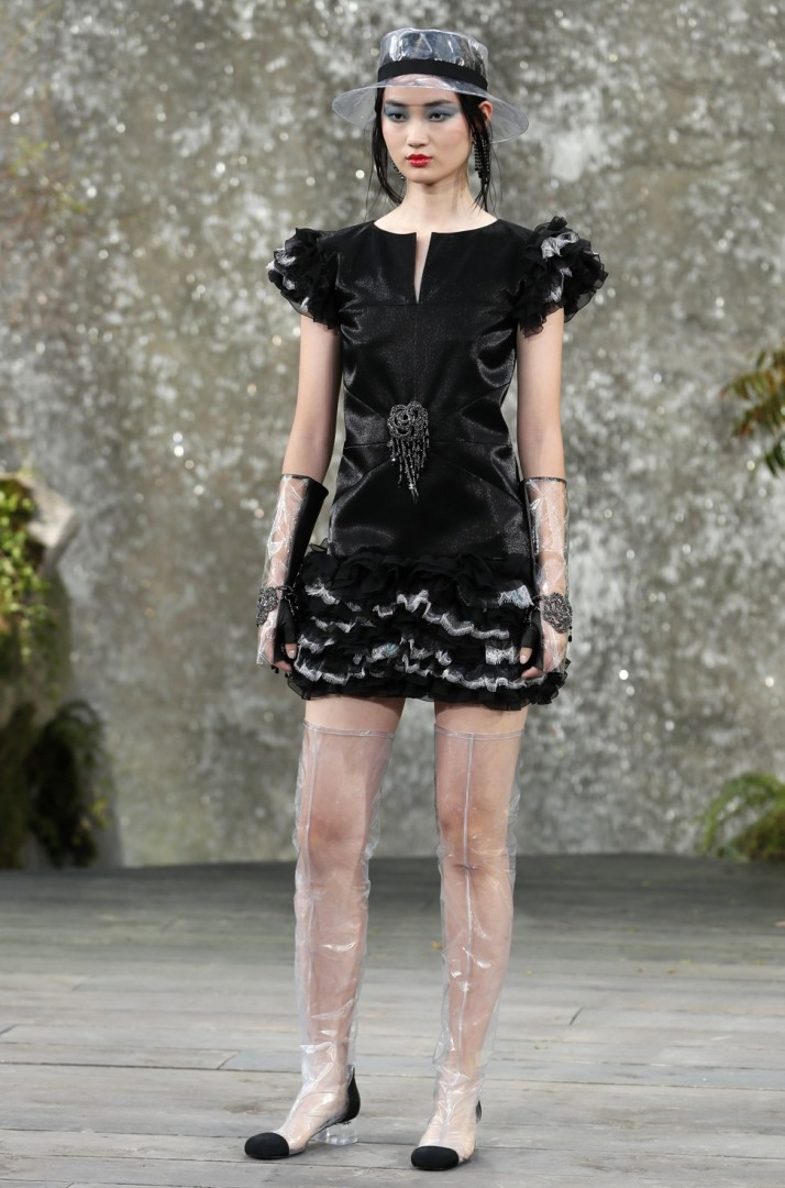 0ad3ba12605b Chanel created a waterfall for its spring/summer 2018 collection, making  raincoats and wellington boots chic again | South China Morning Post