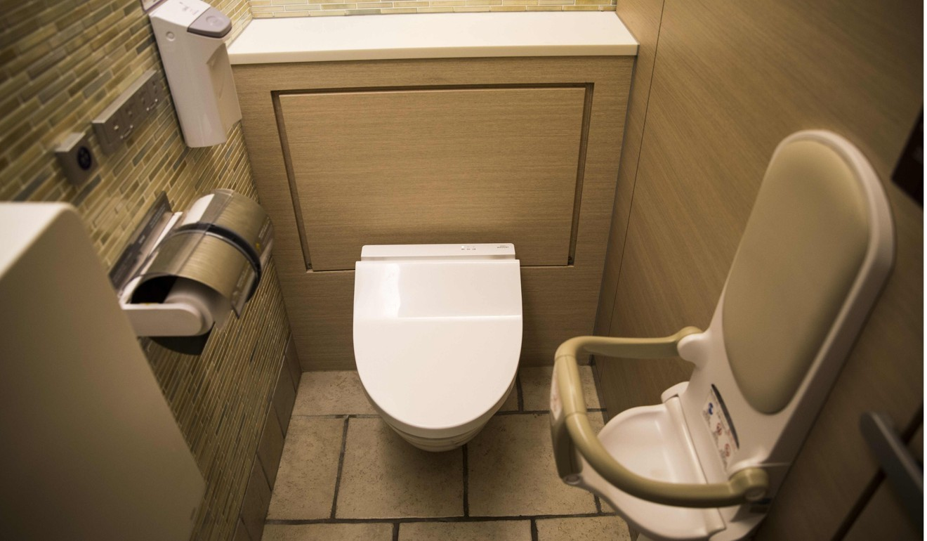 Deep rising asian pulled into toilet