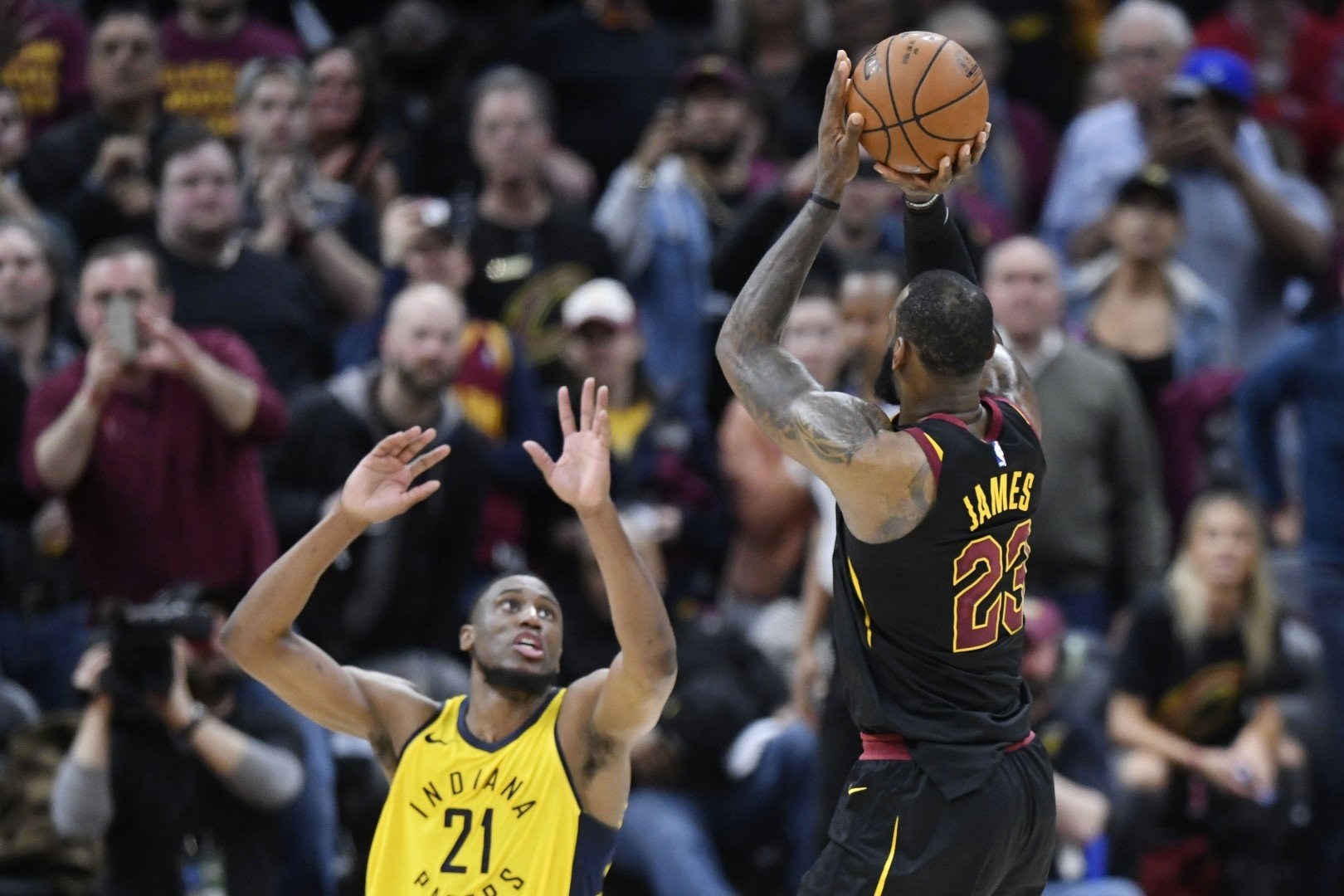 ea5c5ff257d3 LeBron James buzzer-beater makes him  feel like a kid again  but Pacers cry  foul as Cavs take NBA playoffs lead