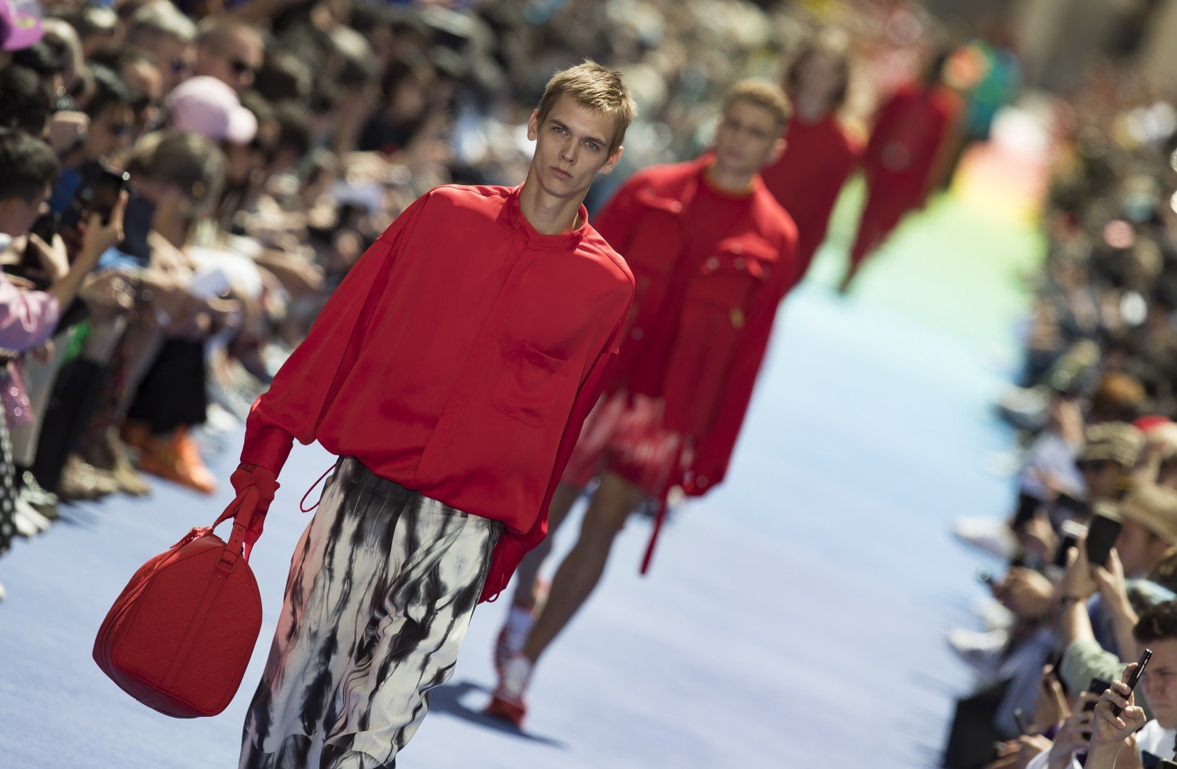ee69f7a29555 Paris Men s Fashion Show  tearful Virgil Abloh catches the eye with  colourful Louis Vuitton debut