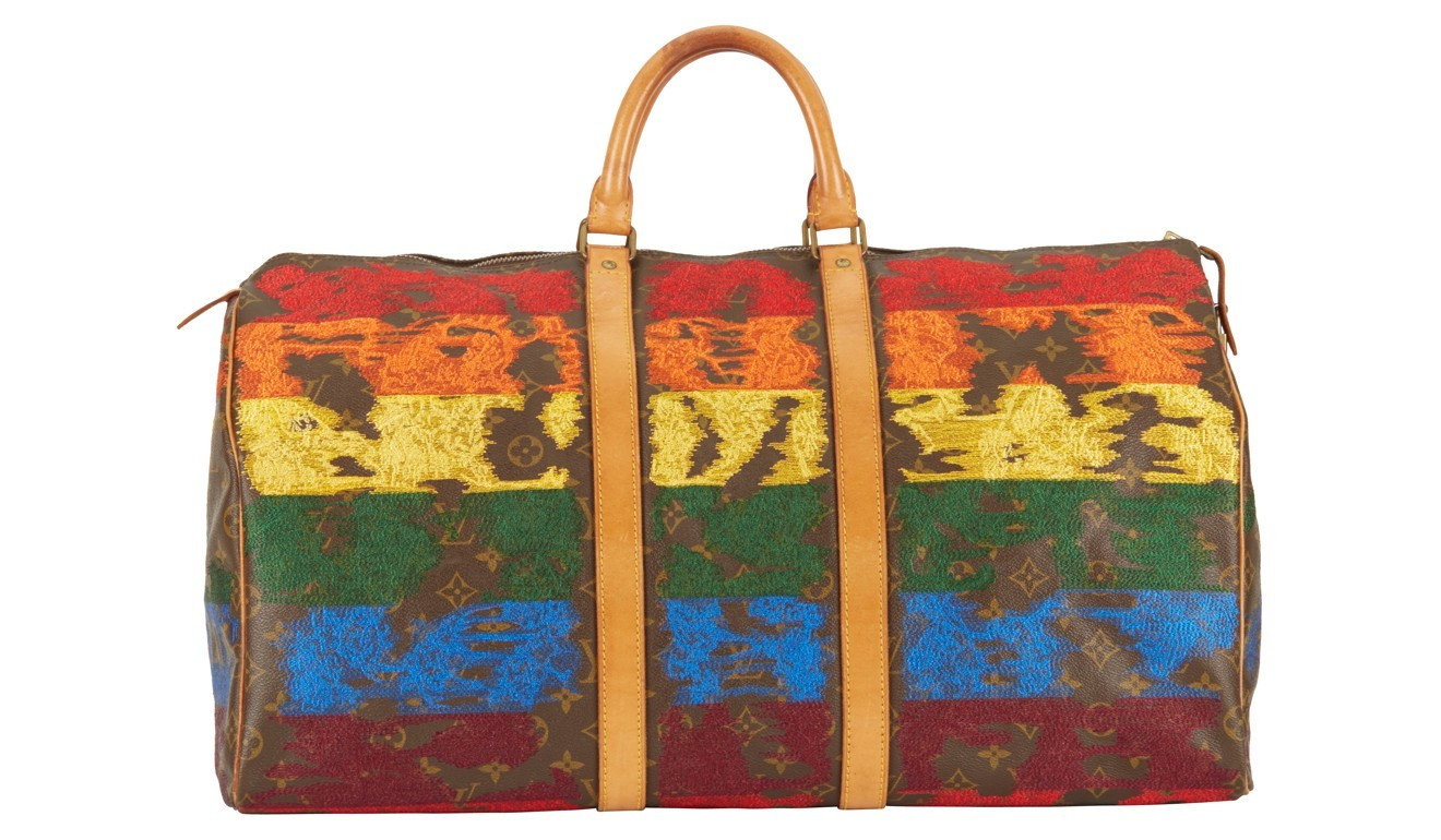 380c70ed49b4 Louis Vuitton bags reworked by Hong Kong-based designer with embroidery  that looks part of the original fabric