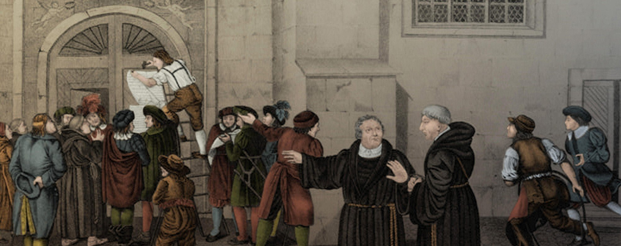 An 1830 lithograph shows a crowd gathering to watch Luther post his 95 Theses on the church door.