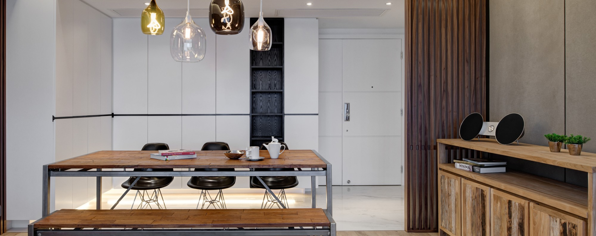 Hong Kong Flat Gets Industrial Theme With Wood Concrete And Pops Of Colour