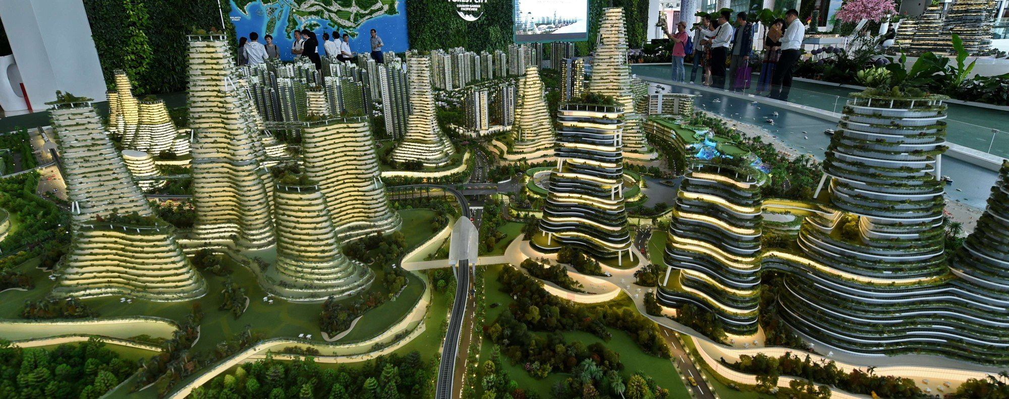 A scale model of the Forest City development criticised by Mahathir as creating a 'foreign enclave'. Photo: AFP