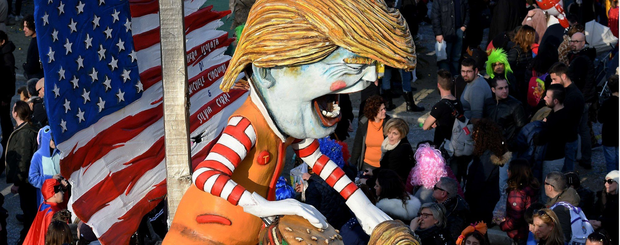 A carnival float entitled 'Mad Donald Trump'. Photo: AFP