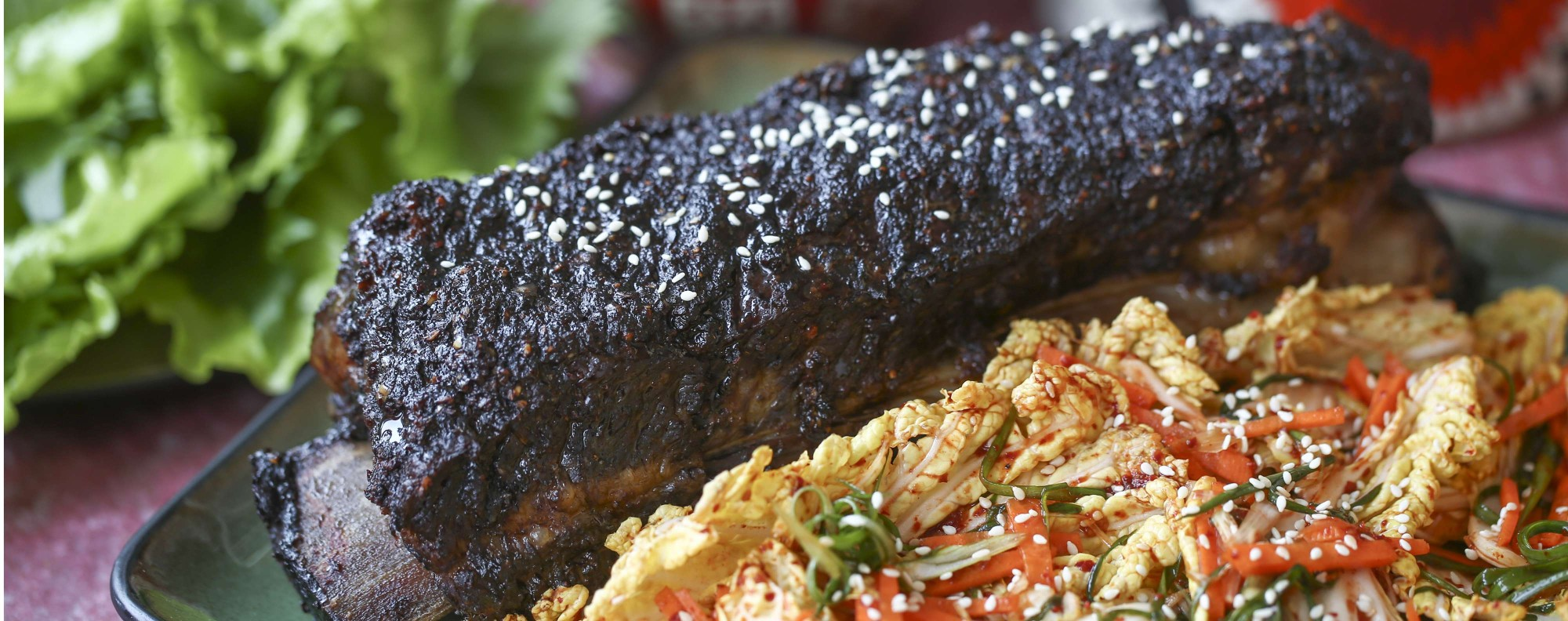 Slow-roasted beef ribs with kalbi marinade. Picture: Jonathan Wong