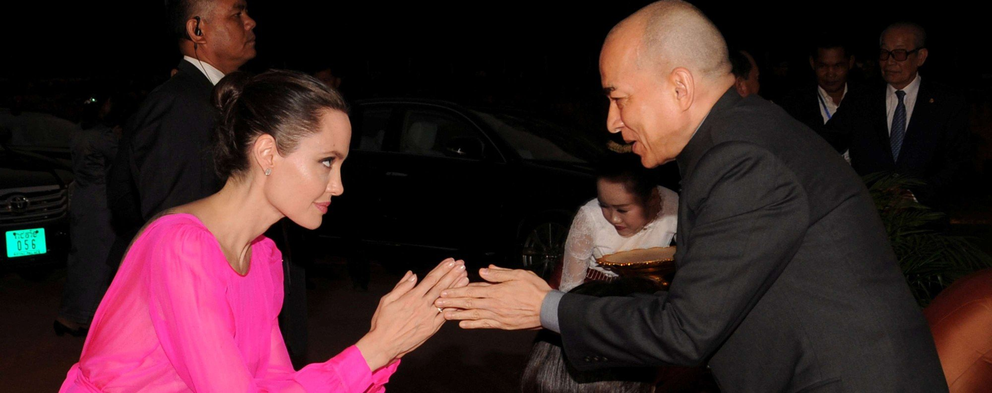 Angelina Jolie with Cambodia's King Norodom Sihamoni. Picture: Reuters