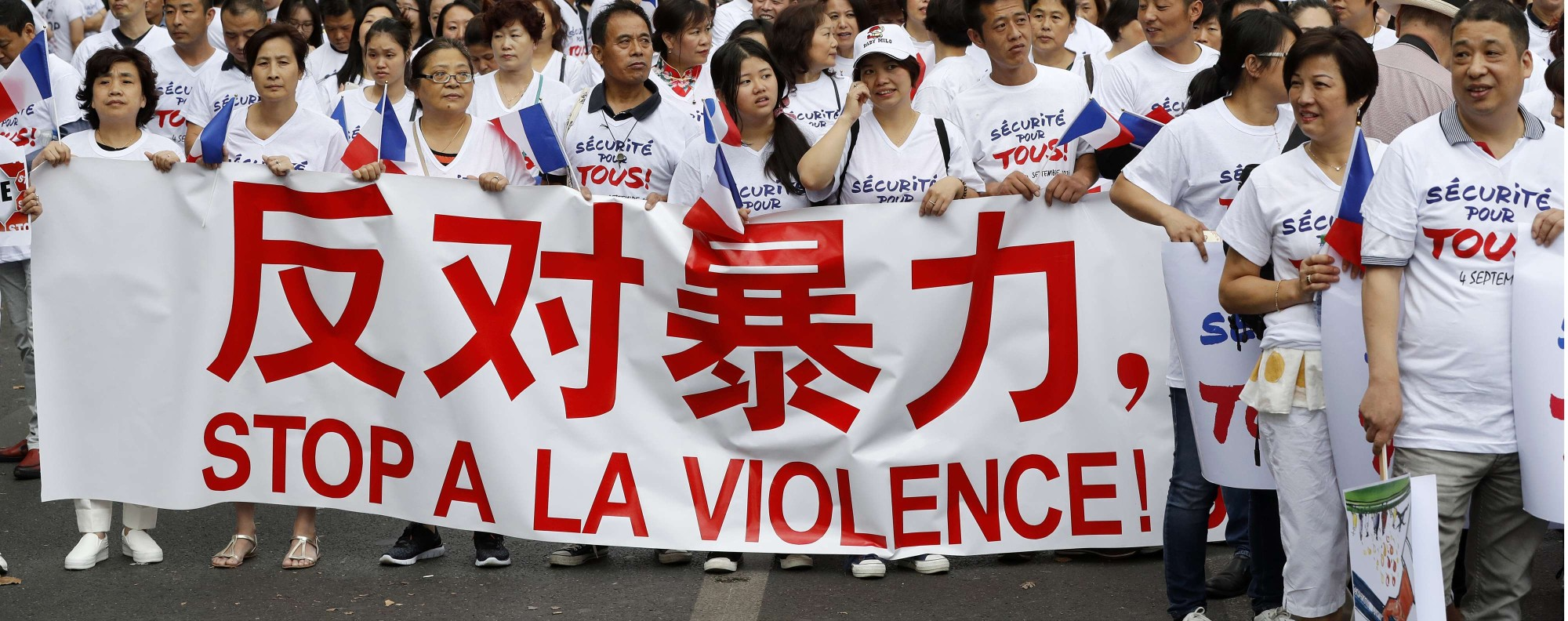 A protest in Paris last September, following the death of Zhang Chaolin.